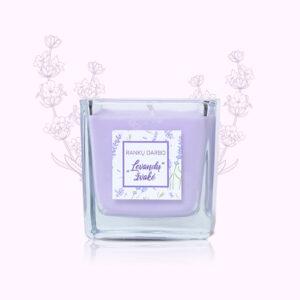 Rankų darbo, sojų vaško žvakė su natūraliu eteriniu levandų aliejumi