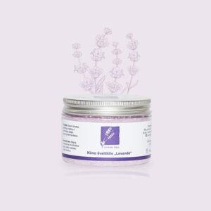 Natūralus kūno šveitiklis su eteriniu levandų aliejumi, simondsijų bei saldžiųjų migdolų aliejais ir epsom druska