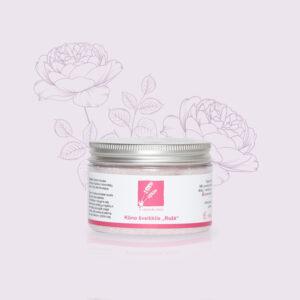 Rožių kūno šveitiklis su epsom druska, saldžiųjų migdolų, simondsijų aliejumi ir eteriniu rožių aliejumi