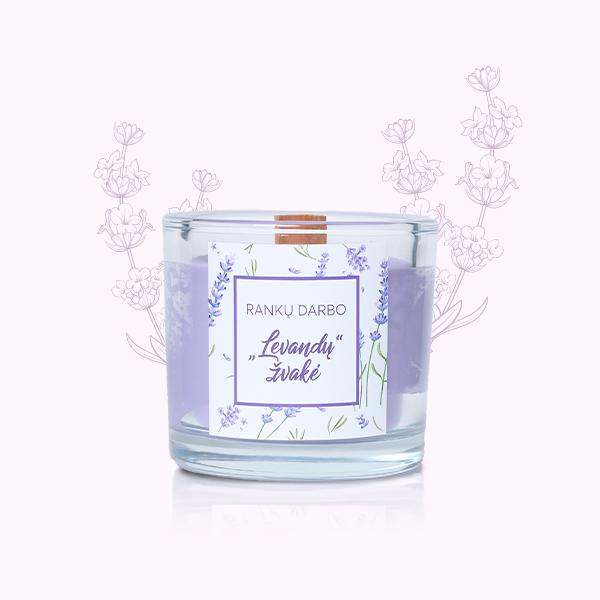 Sojų vaško levandų žvakė su medine dagtimi